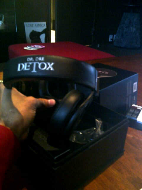 Dr Dre Detox labeled Headphones in all black  Picture Dr Dre Detox Headphones